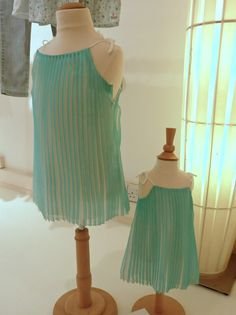 Fan pleated shift dresses in aqua from Chloe kids designer fashion collection for summer 2013