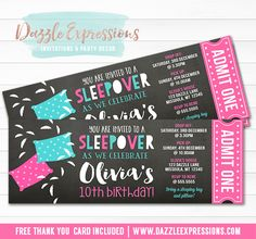 Printable Chalkboard Sleepover Ticket Birthday Invitation | Girl Scout | Pillow Fight | Slumber Party | Under the Stars Movie Night Party | Camping | Glamping | Flash Light | Hotel Sleepover | Tween, Girls, Teenager | Gold Glitter | DIY | Digital File | Party Decorations Available | Signs | Cupcake Toppers | Water Bottle Labels | Favor Tags | Popcorn Box | Banner | Food Labels | www.dazzleexpressions.com