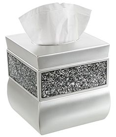 Tissue Box Cover, Decorative Square Tissue Box Holder is Finished in Beautiful Silver Mosaic Glass, Brushed Nickel Collection Bathroom Accessories. DECORATIVE TISSUE BOX HOLDER - Cover Fits Most Standard Square Kleenex & Other Tissue Boxes; Features Sleek Brushed Nickel with Elegant Inlaid Mosaic Glass. EASY-OPEN BASE SLIDER - Durably Crafted Base Slides In & Out For Easy Loading of New Box; Pretty Holder Discreetly Covers Entire Box for Ultimate Convenience. LARGE TOP OPENING - Sizeable…
