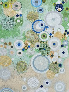 Abstract Circles Mosaic Pattern Artwork Marble Stone by Mozaico