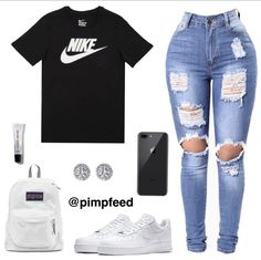 Nike Outfit 🤩 ~~~~~~~~~~~~~~~~~~~~ If viewing f/ Teenager Outfits, Swag Outfits For Girls, Cute Lazy Outfits, Cute Swag Outfits, Teenage Girl Outfits, Teen Fashion Outfits, Dope Outfits, Boujee Outfits, Simple Outfits