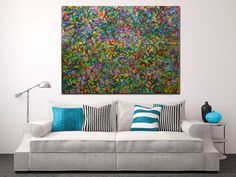 Vibrant and very detailed piece with bold color blending, lots of drips and big palette knife strokes...Pretty much everything I love in a painting!!! This painting conveys motion and energy as wel...