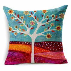 "Amazon.com - Dreamcolor 18x18"" Cotton Linen Spring Birds and Fragrant flowers Decorative Throw Pillow Cover(ZBZ018-4) -"