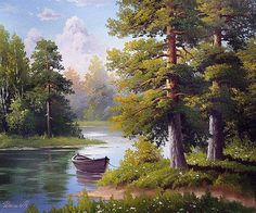 М.Ильин. Лодка рыбака Nature Artwork, Nature Paintings, Beautiful Paintings, Beautiful Landscapes, Oil Painting Pictures, Pictures To Paint, Nature Pictures, Landscape Drawings, Landscape Art