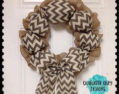 Burlap wreath with chevron- chevron wreath- door wreath- year round wreath- fall wreath- christmas wreath- initial wreath- burlap wreath