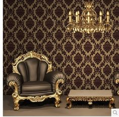 94.04$  Watch now - http://alic01.worldwells.pw/go.php?t=1726557635 - Europe Classic Luxury Flocking DAMASK Velvet Wallpaper WallCoverings Roll For TV Background Wall Decor papel de parede Black