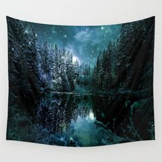 Winter Forest Teal Wall Tapestry