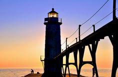 Manistee Lighthouse, MI: Fishing at Sunset