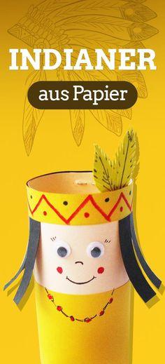 Indianer aus Papier basteln. Bastelidee für Kinder. Klicken Sie hier für Schritt-für-Schritt Anleitung! 🏹 Geburtstag 🏹 Kinderparty 🏹 Deko