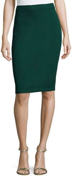 St. John Santana Knit Basic Pencil Skirt, Emerald