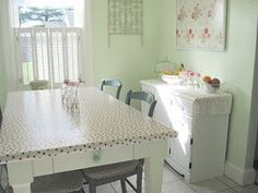 Oilcloth Addict - Feeding your Oilcloth Addiction with tips and tutorials with Modern June: Show and Tell - oilcloth covered table