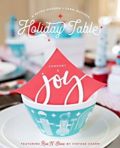 A Retro-Modern Inspired Holiday Table with Vintage Charm bowls + Free Printables