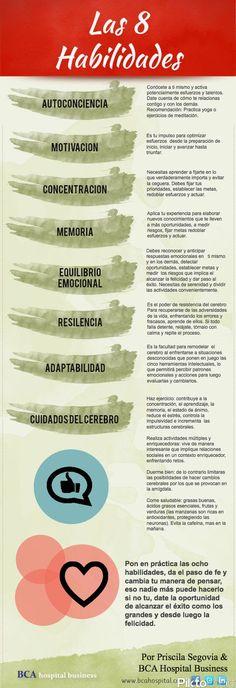 PSICOLOGOS PERU: LAS 8 HABILIDADES (INFOGRAFIA) Coaching, Little Bit, Emotional Intelligence, Self Development, Personal Development, Self Improvement, Self Help, Leadership, Anton