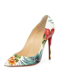Pigalle Follies Floral 100mm Red Sole Pump, White/Multi by Christian Louboutin at Neiman Marcus.