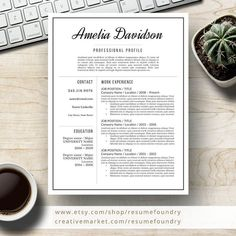 Professional Resume Template for Word, Page Resume + Cover Letter + Reference Page Microsoft Word Resume Template, Modern Resume Template, Creative Resume Templates, Design Templates, Cover Letter For Resume, Cover Letter Template, Letter Templates, Resume Tips, Resume Examples