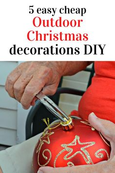 Beautiful Easy Outdoor Christmas decor idea for your front porch, front door or deck. This diy outdoor Christmas decoration on a budget is quick and cheap so head to your dollar store and make this creative and amazing decoration for christmas on a dime. #diy #christmas #outdoor #decoration All Things Christmas, Christmas Bulbs, Christmas Crafts, Jesus Birthday, Outdoor Christmas Decorations, Gifts For Kids, Organizing Your Home, Front Porch, Deck