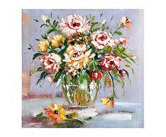 Óleo sobre lienzo Fleurs, multicolor - 80x80 cm