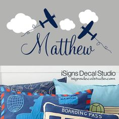 AIRPLANE WALL DECAL  Airplane Name Decal  by iSignsDecalStudio, $28.50