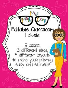 Editable Classroom Labels in FUN, BRIGHT colors with a MATH background, FREE