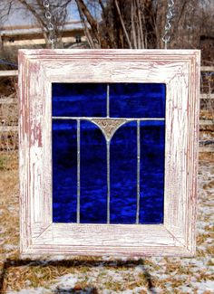 Blue stained glass panel with weathered wood frame - I absolutely adore this color blue, and the silver leading against that rich royal blue looks amazing. Stained Glass Designs, Stained Glass Panels, Stained Glass Projects, Stained Glass Patterns, Leaded Glass, Stained Glass Art, Mosaic Glass, Fused Glass, Glass Doors