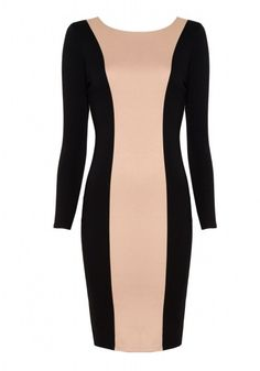 In the Bluff  - The Pull: Alice & Olivia black and blush colour blocked long sleeve midi dress with exposed back zipper