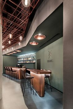 bar lifestyle interior design industrial floor cooper barstools Bar Eduard s by DIA Dittel Architekten Area Industrial, Industrial Flooring, Industrial Interior Design, Industrial Interiors, Modern Interior Design, Industrial Shelving, Industrial Office, Industrial Lighting, Industrial Style