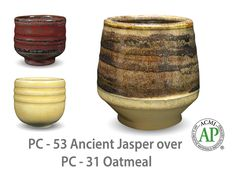 Ancient Jasper is a fluid, opaque glaze that transitions from soft black to olive green to rust red as it is applied thicker. This glaze has an active, varied surface by itself and layers with our other Potter's Choice glazes with striking results.