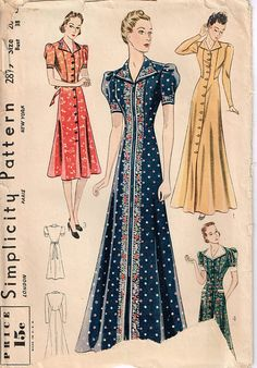 Package includes Simplicity sewing patterns and instruction for Misses housecoat or dress has front button, collar, long or cap sleeves and back tie