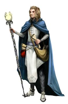 Male Elf Wizard with Staff and Blue Cloak - Pathfinder PFRPG DND D&D d20 fantasy