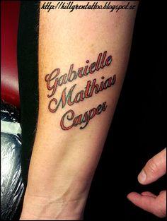 Tatuering, underarm - barnens namn Tattoo - childrens names