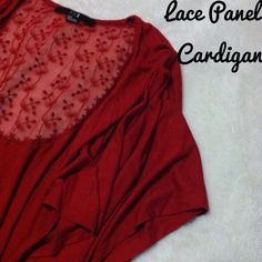 ✂️PRICE CUT✂️NWOT Floral Lace Cardigan - OSFM Gorgeous red colored cropped cardigan with a panel in the back of a lacey floral print. Drapey sleeves create a nice waterfall kind of look to the way it falls on you when you wear it. Sized as a small but this fits me and I typically wear a large. I'd say it would fit best as a S/M, but can work between the sizes of XS-L, depending on preference for fit. In excellent condition. I did however cut the hanger strings off inside. Forever 21 Sweaters…