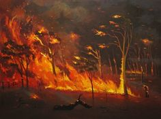 BUSHFIRE  2014 Acrylic on canvas  90cmx120cm Wild Fire, Art Thou, Canvas, Gallery, Artist, Landscapes, Painting, Fire, Tela