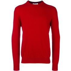 Salvatore Ferragamo round neck jumper ($420) ❤ liked on Polyvore featuring men's fashion, men's clothing, men's sweaters, red, mens red cashmere sweater, mens red sweater and mens cashmere sweaters