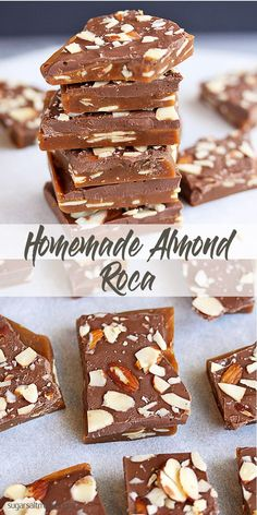 Crisp buttery caramel toffee, filled with almonds and topped with chocolate via Homemade Almond Roca by Sugar Salt Magic. Crunchy, buttery caramel filled with almonds and topped with chocolate. Brittle Recipes, Fudge Recipes, Candy Recipes, Sweet Recipes, Baking Recipes, Dessert Recipes, Homemade Sweets, Homemade Candies, Homemade Fudge