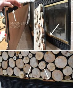 Faux Stacked Log Fireplace Screen - Beyond Clever! DIY Beautiful Way Change . - Faux Stacked Log Fireplace Screen – Beyond Clever! DIY Beautiful Way Change the look of your fire -