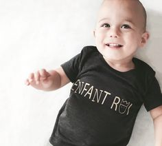 Enfant Roi, for all your minis royalties ! Enfant roi means 'king child' in English, but French is the new trend! Handprinted Gold on a Tri-blend T-shirt, it is very soft and comfortable. New Trends, Minis, Onesies, English, French, Children, Gold, T Shirt, Etsy