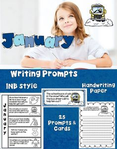 anuary Writing Prompts   Writing prompts are a great way to get your students thinking and writing. This set gives you the option of using the writing prompts in an Interactive Notebook style (print at 85%) or the traditional writing paper. The set comes with colorful cards you can post on the board. This set is themed with winter and snow.