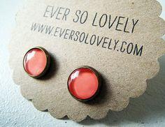 petite coral pink earrings via Etsy