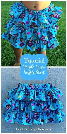 Triple Layer Ruffle Skirt Tutorial #skirttutorial #diy #ruffles