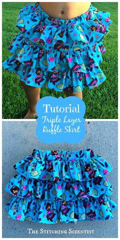 Triple Layer Ruffle Skirt Tutorial #skirttutorial #diy #ruffles