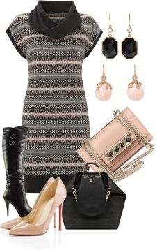 A fashion look from January 2013 featuring knit dress, nude pumps and over-knee boots. Browse and shop related looks. Classy Work Outfits, Stylish Outfits, Cute Outfits, Sweater Dresses, Dress Outfits, Autumn Winter Fashion, Spring Fashion, Work Clothes, Clothes For Women