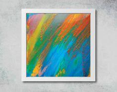 #Rainbow #Print, #Turquoise #Orange, #Rainbow #AbstractArt, #Large #WallArt, #JuliaApostolova, #Painting, #Canvas, '' #Dreams Come True'' by #JuliaApostolova on #Etsy