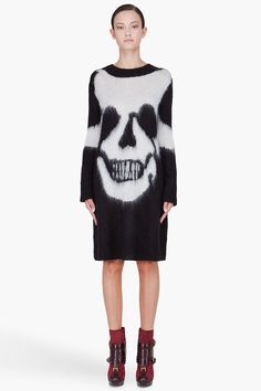McQ Alexander McQueen Skull Intarsia Dress  Goth gal or not, a bold skull print is desirable done in a delicious mohair-silk-wool blend.  $635; ssense.com