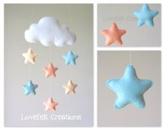 Baby mobile Stars mobile Cloud Mobile Baby by LoveFeltXoXo Star Mobile, Cloud Mobile, Felt Mobile, Mobile Mobile, Felt Crafts, Diy And Crafts, Mobiles For Kids, Diy Bebe, Star Cloud