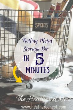 Rolling Wire Storage Bin in 5 Minutes, NO TOOLS NEEDED! Via Heathered Nest.