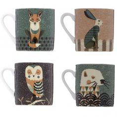 Magpie Dusk Wildlife Mugs Set of 4 : Hare, Fox, Owl & Otter in Gift Boxes