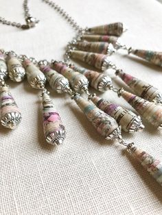 CIJ Bohemian style necklace made with pastel-coloured paper beads, handmade jewelry, gift idea - €18.00 EUR