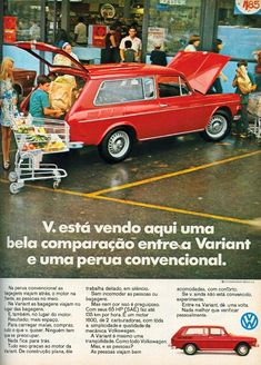 You see here a nice comparison between VW Variant station wagon and a conventional one. Chevrolet Silverado, Vintage Advertisements, Vintage Ads, Vw Variant, Vw Parts, Vw Classic, Car Camper, Car Advertising, Vw Volkswagen