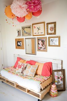 crib mattress as a little bench? Love this color combo too! (Actually i love everything in this picture!)