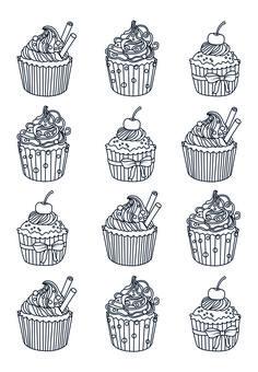 vektor - cupcakes, satz - stock illustration, lizenzfreie illustration, stock clip-art-symbol